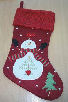 Christmas Stocking - Scroll Character - Snowman