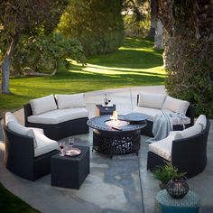 Have to have it. Belham Living Meridian All-Weather Wicker Fire Pit Conversation Set with Sunbrella Cushions - $3399.96 @hayneedle.com