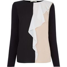 OASIS Colour Block Ruffle Blouse (695 MXN) ❤ liked on Polyvore featuring tops, blouses, multi, flounce tops, colorblock blouse, white top, holiday blouses and cocktail blouses