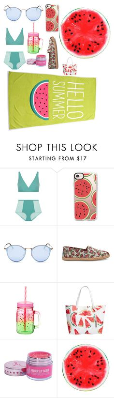 """""""Watermelon Swim"""" by mainlydisney ❤ liked on Polyvore featuring Flagpole, Casetify, Ray-Ban, TOMS and Vince Camuto"""