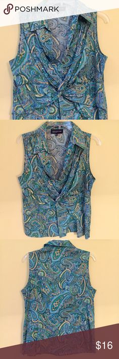 Crossover Jones Blouse Pretty knotted front detail, snap closure above and side zipper, great color and pattern. Look great and stay cool this spring! Jones New York Tops