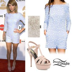 Taylor Swift attended the annual Clive Davis Pre-Grammy Gala yesterday wearing an altered romper from the Osman Spring 2015 Collection (not available online), a pair of Saint Laurent Classic Tribute 105 Sandals ($925.00) in Pale Blush and an Edie Parker Jean Clutch ($1,095.00, White). You can get similar sandals from Dolce Vita ($29.99) and a clutch from DailyLook ($59.99).  http://stealherstyle.net/taylor-swift/page/2/