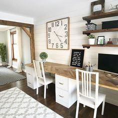 This is one awesome work space perfect for homework time, craft time, or any time office work needs to get done! Our Square Wood Wall Clock keep tabs on the time too! #walldecor #homeoffice Diy Office Desk, Home Office Space, Home Office Design, Home Office Decor, Office Furniture, Office Ideas, Office Table, Office With Two Desks, Office Designs