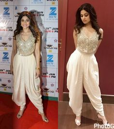 Shamita Shetty in Dibbi fringe vest with high waisted dhoti Indian Attire, Indian Wear, Indian Designer Outfits, Designer Dresses, Indian Dresses, Indian Outfits, Stylish Dresses, Fashion Dresses, Saree Dress