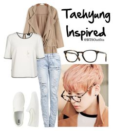 """Taehyung Inspired"" by btsoutfits ❤ liked on Polyvore featuring VILA, Uniqlo and Oliver Peoples"