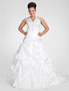 Ball Gown Halter Chapel Train Taffeta Plus Size Wedding Dres... – USD $ 299.99