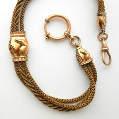 Victorian Hair Work Jewelry with Clasping Hands. Watch Chain.. $240.00, via Etsy.