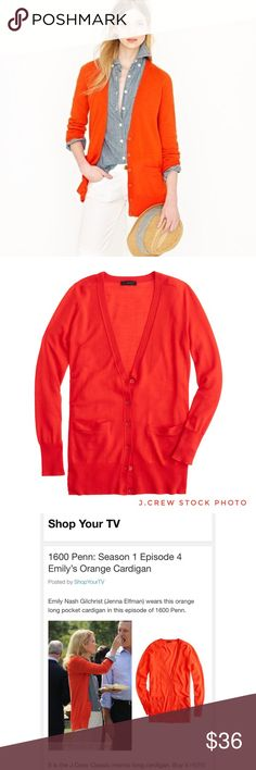 J.Crew Classic Merino Wool Long Cardigan Sweater J.Crew Orange-Red Classic Merino Wool Long Cardigan Sweater The cardigan you can—and will—wear with just about everything. PRODUCT DETAILS: * 100% Merino wool in a 14-gauge knit * Rib trim at neck, cuffs and hem * Welt pockets * Dry clean * Import * Item 65370 * EUC like new condition  * Pet free/smoke free SIZE & FIT * Size Medium * Relaxed fit * Hits below hip  R.12.17 J. Crew Sweaters Cardigans