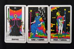 The King of Neon, Drippy Psychedelia, Oliver Hibert recently released his version of both the Minor and Major Arcana Tarot Cards. Oliver Hibert has le. Diy Tarot Cards, King Of Wands, Stoner Art, Tarot Major Arcana, Sketch Inspiration, Posca, Psychedelic Art, Tarot Decks, Drawings