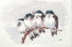 Snuggling Birds  Original Watercolor Painting 7 by CMwatercolors