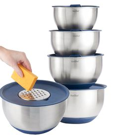 VonShef Professional 5 Piece Mixing Bowl Set - Stainless Steel with Lids, Non-Slip Surface and 3 Grater Attachments * Instant discounts available  : Mixing bowls baking