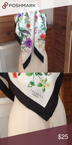 Talbots Silk Scarf Silk, floral/butterfly motif Talbots scarf. Measures 36x36 inches. Talbots Accessories Scarves & Wraps