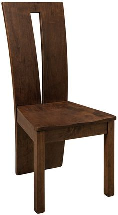 One of the most unique hardwood chairs in our offerings, the Alighieri Modern Side Chair features a floor length back with triangle cutout for a contemporary look. Wooden Dining Table Designs, Wooden Dining Chairs, Modern Wooden Furniture, Amish Furniture, Furniture Logo, Ikea Furniture, Furniture Ideas, Painted Wooden Chairs, Chair Design Wooden