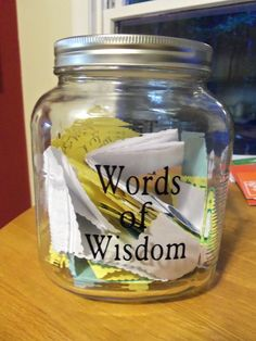 Words-of-Wisdom-mason-jar | DIY Graduation Party Ideas for High School | DIY College Graduation Decorations Ideas