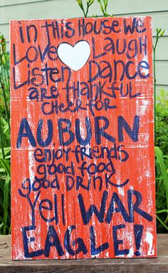 "Wooden Art, Wooden Signs, Wood Signs, College Art, Painted Sign, Wood Art, Distressed Wood Sign Art: ""Auburn Fun Saying"" Distressed Sign. $45.00, via Etsy."