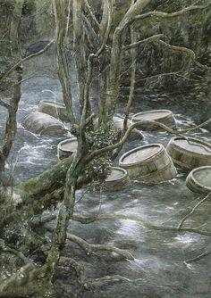 Barrel out fo bond - Illustration for The Hobbit By Alan Lee Alan Lee, Hobbit Dwarves, O Hobbit, Minas Tirith, Tolkien Books, Jrr Tolkien, Gandalf, Legolas, Barris