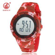 >> Click to Buy << NEW OHSEN Digital Watch Men Male Female Couple Wristwatch Red Rubber Strap Alarm Date LCD Waterproof Sport Lovers' Watch Relogio #Affiliate