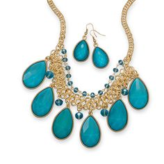 Teal Pear Drop Fashion Necklace and Earring Set