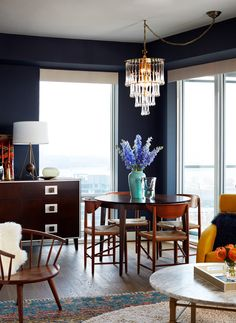 Photo Donna Griffith > Style at Home, 2017 Small Space Living, Small Spaces, New Condo, Glass Chandelier, Blue Walls, Design Consultant, Design Firms, Murano Glass, Custom Design