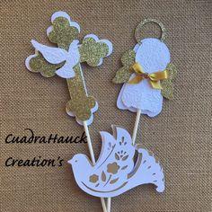 Baptism centerpieces stick/ Angel centerpieces stick/ Dove centerpieces stick/ White and Gold baptism centerpieces stick by CreationsCuadraHauck on Etsy