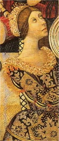 The braided conformed to fashion hairstyle: between 1470-80 rippled hair covering only the ears and freeing the cheeks, so the top of the cap is perfectly adjusted to the head and sleeve begins in the same neck.  H. 1470-1480. The Feast of Herod, Pedro García de Benabarre, Museu Nacional d'Art de Catalunya, Barcelona (detail)