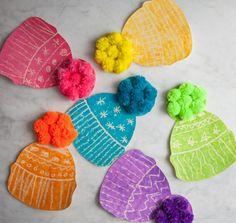 Winter Hats – Do A Dot Art – Kunstunterricht Kids Crafts, Hat Crafts, Toddler Crafts, Preschool Crafts, Arts And Crafts, Kids Winter Hats, Winter Crafts For Kids, Winter Fun, Art For Kids
