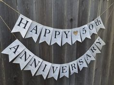 HAPPY ANNIVERSARY 50th or any Burlap Banner by AlohaInspired