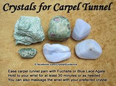 Crystals for Carpel Tunnel : ~ Fushite ~ ~ Blue Agate ~ ~ to ease carpel tunnel pain ~ massage wrist with your preferred stone ~