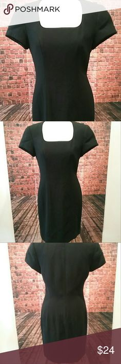 """Liz Claiborne pretty  black dress Simple yet elegant Liz Claiborne black dress - has shoulder pads - it is lined - has a velvet edge around neck line and sleeves - back zip up - zipper works fine - eye and hook - PRE-OWNED- FLAT LAY MEASUREMENT: 18"""" across from underarm to underarm- 34"""" long from top of shoulder seam to bottom hem- SIZE 6 - no visible flaws Dresses"""