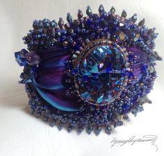 Purple Sky An Art Piece Bracelet / Cuff created by by LynnParpard Embroidery Bracelets, Bead Embroidery Jewelry, Beaded Embroidery, Cuff Bracelets, Hand Embroidery, Ribbon Jewelry, Ribbon Art, Beaded Jewelry, Silk Ribbon
