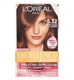 Loreal LOral Excellence 5.32 Sun-Kissed Auburn 10165309 24 Advantage card points. LOral Excellence 5.32 Sun-Kissed Auburn is enriched with Ceramide, a replica of hairs natural cement, leaves the hair looking Smoother and feeling Protected. FREE Delivery on http://www.MightGet.com/april-2017-1/loreal-loral-excellence-5-32-sun-kissed-auburn-10165309.asp