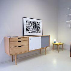 Bahut - Buffet Scandinave 50's - Fidar Blanc / Gris  - Kann Design - Visuel 2