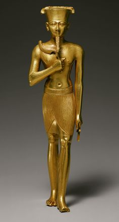 """Statuette of Amun, Third Intermediate Period, Dynasty 22, ca. 945–715B.C.  The god Amun (""""the hidden one"""") first came into prominence at the beginning of the Middle Kingdom. From the New Kingdom onward, Amun was arguably the most important god in the Egyptian pantheon. As a creator god, Amun is most often identified as Amun-Re (in the typical Egyptian blending of deities, Amun is combined with Re, the principal solar god)."""
