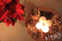 golden pine cone #advent wreath and beautiful #Christmas star - red poinsettia - Merry Christmas = Sretan Božić <3