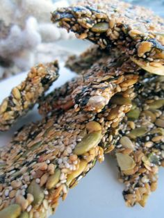 Seed Weed Snacks    3 large, raw Nori Sheets (seaweed)  1/4 cup each of:  Flax Seeds  Chia Seeds  Raw Sunflower Seeds  Raw Pumpkin Seeds  Sesame Seeds
