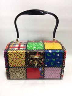 afda07a5fa Vintage Decoupage Box Purse Patchwork Rickrack Mod Rockabilly 1960s Handmade