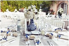 blue and white shabby chic wedding in St Tropez