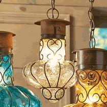 Southwestern Flower Glass Pendant Light - Medium