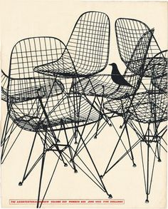 Cover of The Architectural Review, 1952. London. Shown are the Eames DKR wire chairs & the famous House bird. Source