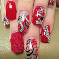 Red bling 3d nail art