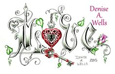 """Love Lock"" (in color) Tattoo Design by Denise A. Wells including heart locket, ornate key, rose, leaves, treble clef and devil-heart...."