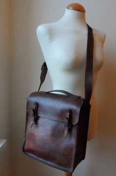 Vintage 1940s 1950s Chestnut Leather Box Satchel Bag - Etsy... MXS