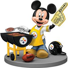 Disney Mickey Mouse Figurine: Pittsburgh Steelers Fired Up For A Win ---(CUTE IDEA)---