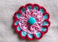 Crochet  Flower Fabric Yo Yo Applique by LittleMargie on Etsy, $3.25