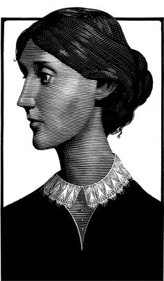 Virginia Woolf -  scratchboard by Mark Summers