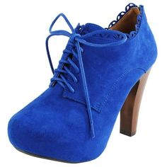 Puffin34 Scallop Edge Laced Ankle Booties COBALT BLUE ($36) ❤ liked on Polyvore