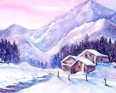Swiss Mountain cabins in snow canvas print. Painting by Sabina von Arx, Barns in the wonderful winter landscape in the Sertig Valley. Prints are available in different sizes and qualities. Mountain Art, Mountain Cabins, Snow Mountain, Mountain Village, Painting Snow, Watercolor Paintings, Landscape Paintings, Watercolour, Canvas Art