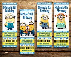Minions Birthday   Minions Invite Tickets  Minions by LauPrints