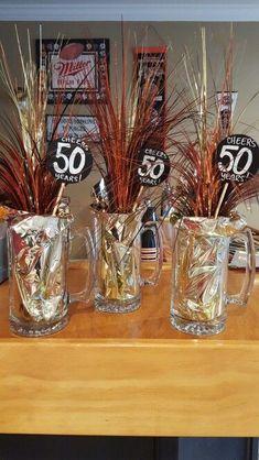 Beer mug decorations: Finished ✔ # birthday party decorations Beer mug decorations: Finished ✔ - - 50th Birthday Party Ideas For Men, Beer Birthday Party, 90th Birthday Parties, 60th Birthday Party, 50th Birthday Party Decorations, 50th Party, Beer Party Decorations, Beer Mugs, Papi