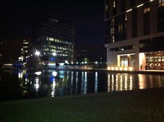 Paddington Basin, London UK. Night time.